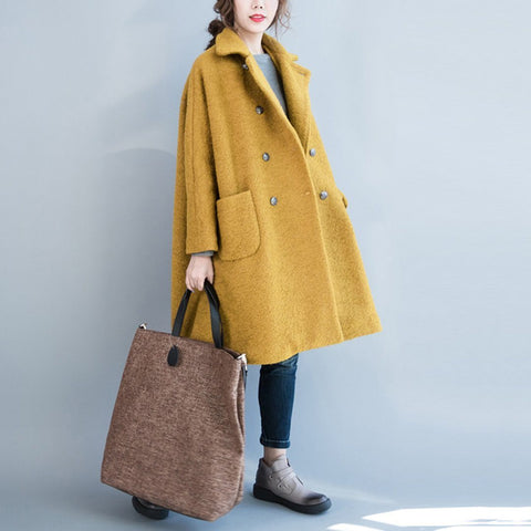 Babakud Casual Loose Winter Simple Wool Coat 2019 September New M Yellow