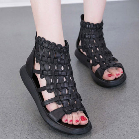 Babakud Casual Rome Platform Leather Sandals 2019 July New 35 Black