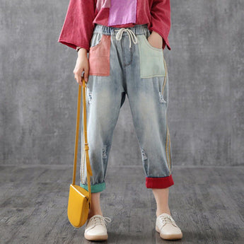 Babakud Color Block Elastic Waist Ragged Leisure Ninth Pants 2019 September New M Light Blue
