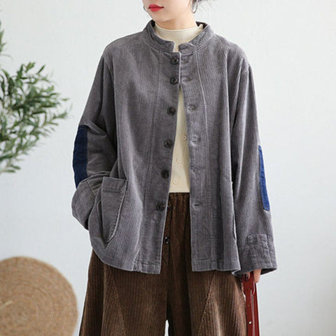 BABAKUD Cordduroy Patchwork Stand Collar Coat 2019 September New One Size Gray