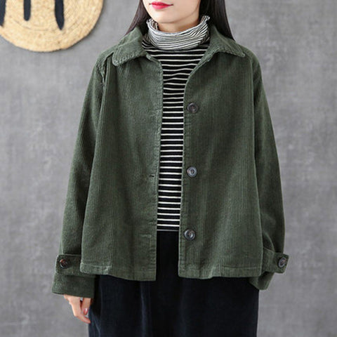 Babakud Corduroy Vintage Casual Loose Fit Coat Women 2019 September New One Size Dark Green