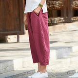 Babakud Cotton Linen Pockets Casual Bloom Pants 2019 Jun New One Size Wine Red