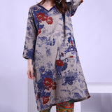 Babakud Cotton Linen Print Spring long Sleeve Dress 2019 Jun New