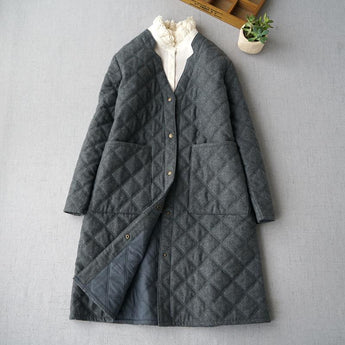 BABAKUD Cotton Linen Wool Quilted Jacket Autumn Winter Women's Woolen Coat 2019 October New L Deep Gray
