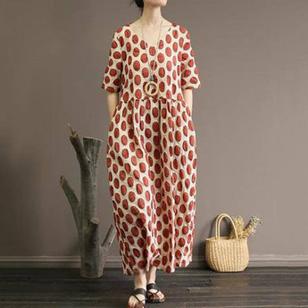 BABAKUD Cotton Summer V-Neck Long Casual Dress 2019 Jun New