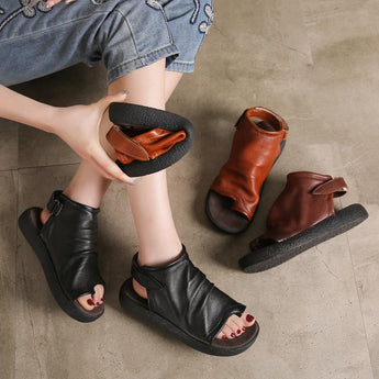 Babakud Cowhide Low Heel Open Toe Summer Women Sandals 2019 April New