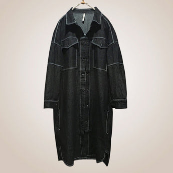 BABAKUD Denim Solid Singal Breated Loose Women Coat 2019 August New M Black