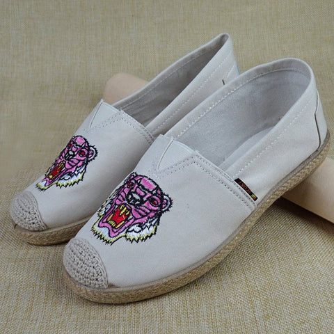 Babakud Embroidery Casual Cloth Paneled Flats Shoes 2019 July New 35 White