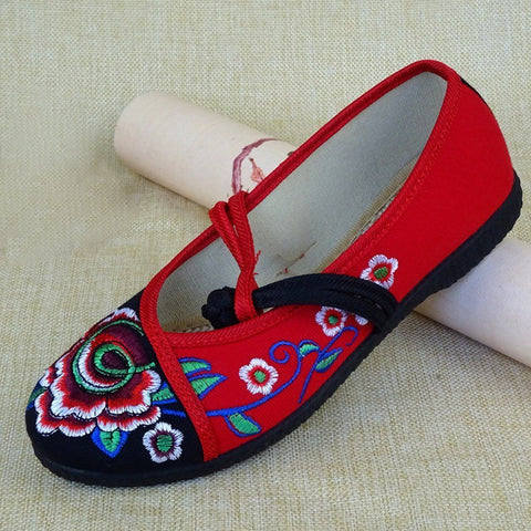 Babakud Embroidery Casual Cloth Shoes With Belts 2019 July New 35 Black Red