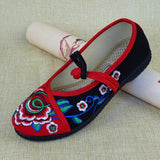 Babakud Embroidery Casual Cloth Shoes With Belts 2019 July New 35 Red Black