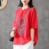Babakud Embroidery Vintage Casual Loose Linen T-Shirt 2019 Jun New One Size Red