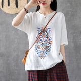 Babakud Embroidery Vintage Casual Loose Linen T-Shirt 2019 Jun New One Size White