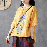 Babakud Embroidery Vintage Casual Loose Linen T-Shirt 2019 Jun New One Size Yellow