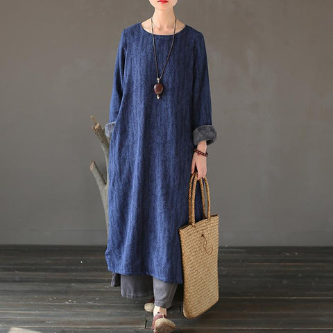 BABAKUD Ethnic Cotton Winter Velvet Jacquard Cotton Robes 2019 October New One Size Blue Plush