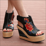 Babakud Ethnic Eembroidered Leather Women's Wedge High Heels Sandals 2019 July New 34 Black A