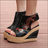 Babakud Ethnic Eembroidered Leather Women's Wedge High Heels Sandals 2019 July New 34 Black B
