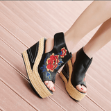 Babakud Ethnic Eembroidered Leather Women's Wedge High Heels Sandals 2019 July New