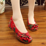 Babakud Ethnic Embroidery Soft Women Shoes 34-41 2019 Jun New 34 Red