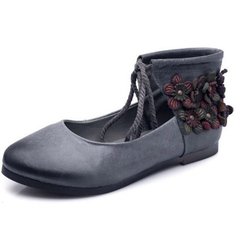 Babakud Ethnic Retro Leather Casual Lace Up Shoes 2019 July New 35 Gray