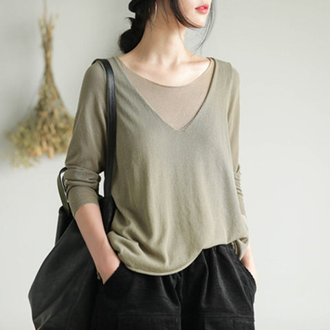 BABAKUD Fake Two Piece Linen Knited T-Shirt 2019 August New One Size Light Army Green