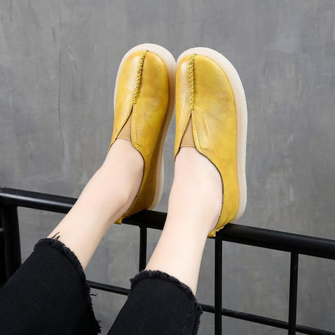 Babakud Flat Leather Soft Bottom Casual Shoes 34-43 2019 July New 34 Yellow