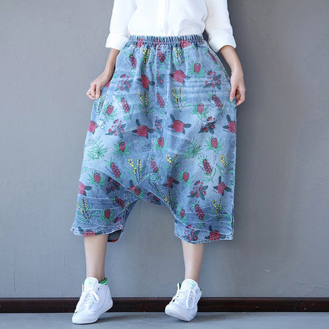 Babakud Floral Casual Drop Crotch Pockets Pants 2019 July New One Size Blue