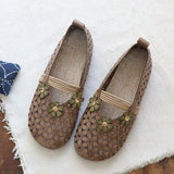 Babakud Floral Hollow Out Casual Leather Flats Shoes 2019 July New 35 Khaki