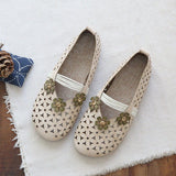 Babakud Floral Hollow Out Casual Leather Flats Shoes 2019 July New 35 Off White