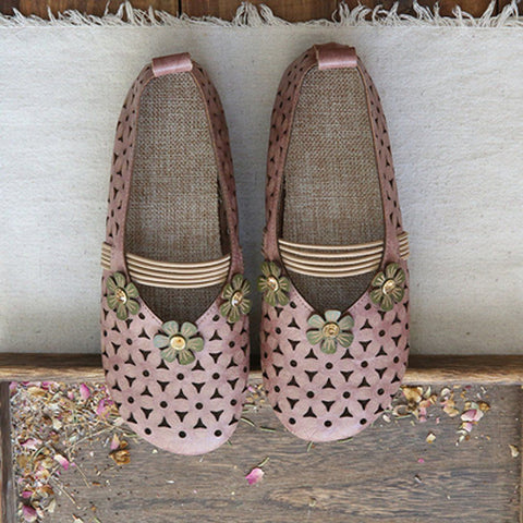 Babakud Floral Hollow Out Casual Leather Flats Shoes 2019 July New 35 Pink
