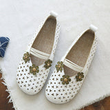 Babakud Floral Hollow Out Casual Leather Flats Shoes 2019 July New 35 White