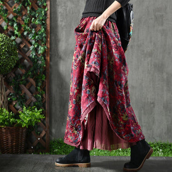 Babakud Floral Loose Casual Cotton Linen Skirts For Women 2019 September New One Size Red