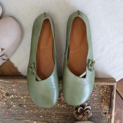 Babakud Flower Leather Slip On Casual Soft Insole Shoes 2019 July New 35 Green