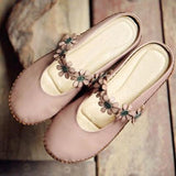 BABAKUD Flowers Handmade Comfy Closed Toe Flats Casual Shoes 34-41 2019 July New 34 Pink