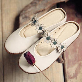 BABAKUD Flowers Handmade Comfy Closed Toe Flats Casual Shoes 34-41 2019 July New 34 White