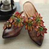 BABAKUD Flowers Retro Almond Toe Chunky Heels Slippers 35-41 2019 July New 35 Coffee