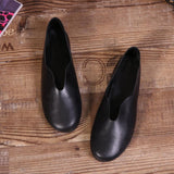Babakud Handmade Flats Casual Leather Round Toe Shoes 33-41 2019 Jun New 33 Black