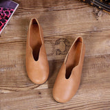 Babakud Handmade Flats Casual Leather Round Toe Shoes 33-41 2019 Jun New 33 Brown