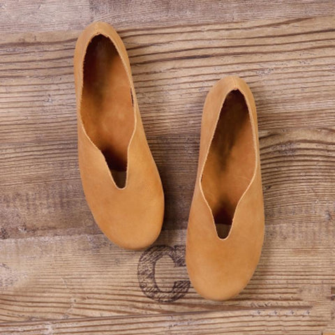 Babakud Handmade Flats Casual Leather Round Toe Shoes 33-41 2019 Jun New 33 Camel