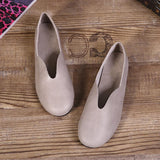 Babakud Handmade Flats Casual Leather Round Toe Shoes 33-41 2019 Jun New 33 Gray