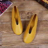 Babakud Handmade Flats Casual Leather Round Toe Shoes 33-41 2019 Jun New 33 Lemon