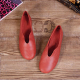 Babakud Handmade Flats Casual Leather Round Toe Shoes 33-41 2019 Jun New 33 Red