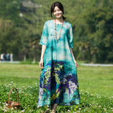 BABAKUD Handmade Knob Knot Printed Cotton Linen Dress 2019 August New M Green