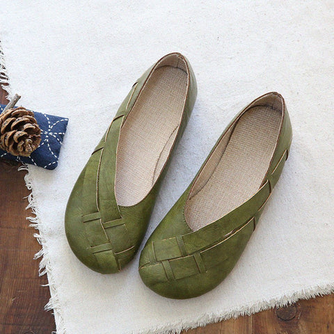 Babakud Handmade Plait Casual Loose Flats Shoes 2019 July New 35 Green