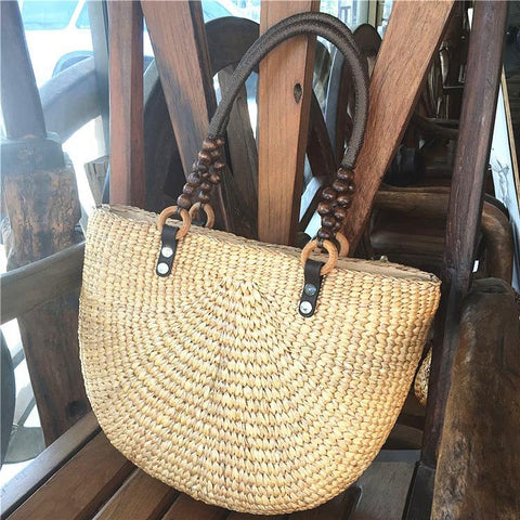Babakud Handmade Summer Travel Plait Casual Handbag ACCESSORIES One Size Beige