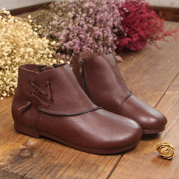 Babakud Handmade Vintage Leather Ankle Boots 2019 July New 35 Coffee