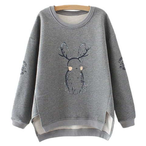 Babakud High Low Casual Loose Printed Fleece Sweatshirt 2019 September New XXL Gray Rabbit