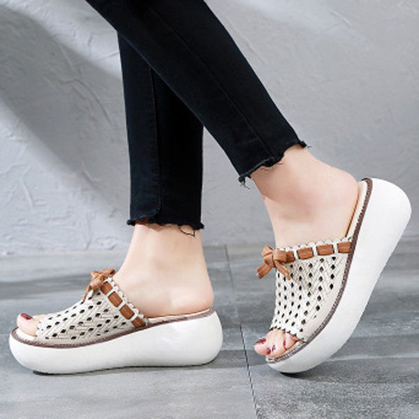 Babakud Hollow Out Bow Knot Platform Casual Slippers 2019 July New