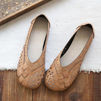 Babakud Hollow Out Plait Linen Insole Leather Flats Casual Shoes 2019 July New 35 Camel