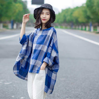 Babakud Large Size Loose Casual Cotton Linen Vintage Plaid Shirt 2019 July New