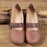 Babakud Leather Buckle Casual Flats Shoes 2019 July New 35 Coffee
